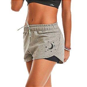 Shorts Feminino Moletom Sport Cinza Claro CAJUBRASIL