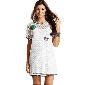 Vestido Tela com Aplicação de Patches Branco MAR RIO