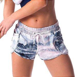 Shorts Feminino SH214.002 Nórdico Estampado Azul VESTEM