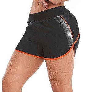 Shorts Feminino Fitness Refletivo Attitude Preto CAJUBRASIL