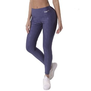 Calça Legging Com Textura Glitter Azul OXYFIT