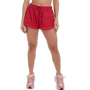 Shorts Feminino Fitness Running Vermelho CAJUBRASIL