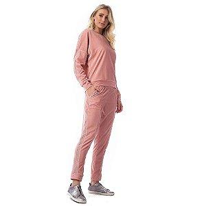 Conjunto Blusa E Calça Jogger De Plush Lumine Rosa Romance Vestem
