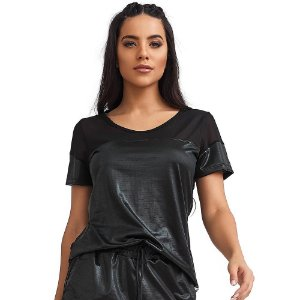 Blusa T-Shirt Feminina Mesh Preta CAJUBRASIL