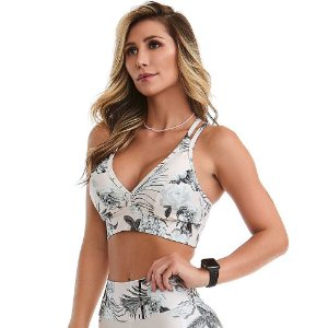 Top Fitness Print Royale Rose Branco CAJUBRASIL