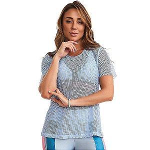 Blusa T-Shirt Feminina Rainbow Azul CAJUBRASIL