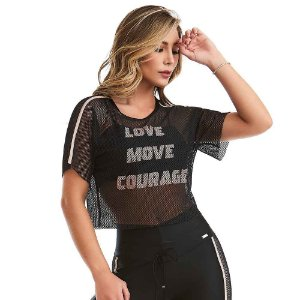 Cropped Fitness Courage Preto CAJUBRASIL