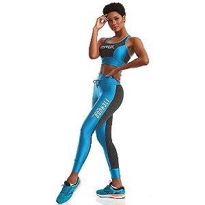Conjunto Top Cropped e Legging Only Azul CAJUBRASIL