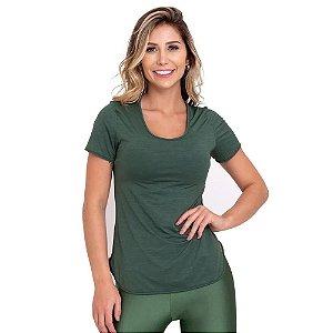 Blusa T-Shirt Feminina Cool Básica Verde CAJUBRASIL