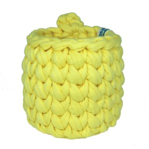 Mini Cachepô de Crochê p/ Pendurar - Amarelo Claro