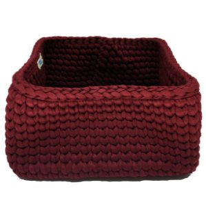 Cesto Quadrado de crochê s/ Alça - Vermelho Escuro
