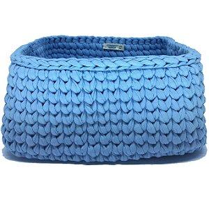 Cesto Quadrado de Crochê s/ Alça - Azul Claro