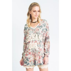 Mini vest moletinho com estampa floral