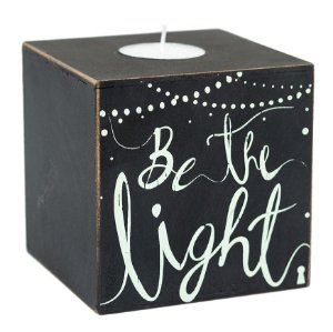 Cachepot com vela – Be the light 10×10