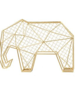 Escultura de Elefante Aramada Dourada