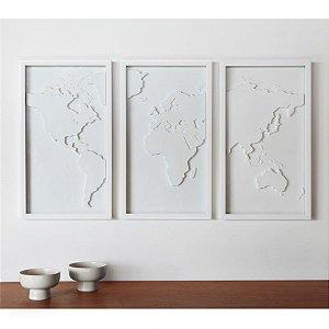 Quadro Mapa Mundi c/ 3 peças