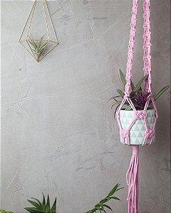 Hanger  de Macramê para Plantas Rose Quartz
