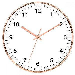 Relógio de Parede Branco e Cobre