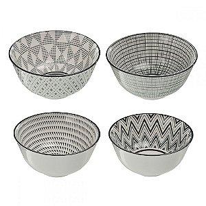 Conjunto de Bowls Étnico Preto e Branco