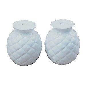 Saleiro e Pimenteiro de Cerâmica Abacaxi Branco