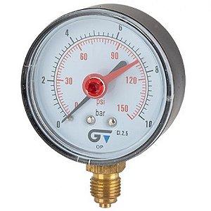 """Manômetro Ø63mm com indicador vermelho, caixa ABS, classe de precisão 2,5 ligação radial inferior BSP M 1/4"""", 55°C"""