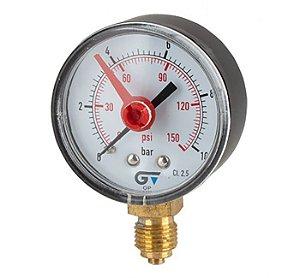 """Manômetro de Bourdon seco, Caixa Ø53mm, Indicador vermelho, Classe de precisão 2.5, conexão 1/4""""BSP radial inferior, Temperatura máxima 55°C"""