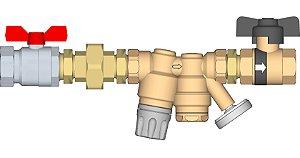 """Conjunto regulador de ramal de DAQ (Distribuição de Água Quente) 3/4""""FF com união, válvula de corte esfera na entrada e Ballstop (válvula de corte esfera com retenção) na saída."""