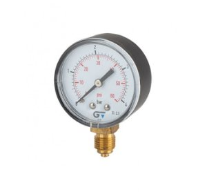 """Manômetro Ø53mm, caixa ABS, classe de precisão 2.5, ligação radial inferior BSP M 1/4"""" 0-10 bar / 0-150 psi, 60°C"""