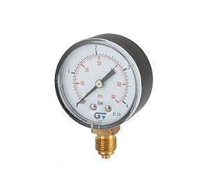 """Manômetro Ø53mm, caixa ABS, classe de precisão 2.5, ligação radial inferior BSP M 1/4"""" 0-4 bar / 0-60 psi, 60°C"""