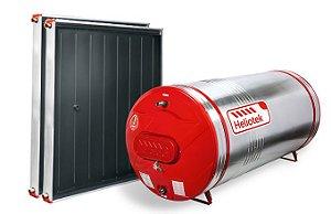 Sistema de aquecimento solar (SAS) HELIOTEK BOSCH de 200 litros com reservatório termossolar de baixa pressão 5mca, tanque interno inox AISI-444 MK, acabamento alumínio e ABS, e 2 coletores solares MC10