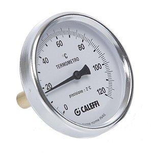 "Termômetro 120°C de sonda posterior 100mm, diâmetro 80mm, bainha de 1/2"", classe UNI 2, norma INAIL (Itália)"