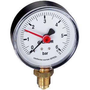 """Manômetro de Bourdon Ø50mm de Conexão Radial Inferior 1/4"""", com Indicador, Escala 0-6 bar, Caleffi 90°C"""