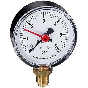 """Manômetro de Bourdon Ø50mm de Conexão Radial Inferior 1/4"""", com Indicador, Escala 0-10 bar, Caleffi 90°C"""