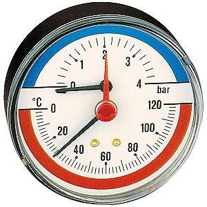 Termomanômetro axial, D80 mm, 0-120°C, opções de 4 e 6 bar, 1/2'' 503 Caleffi
