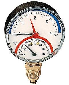 Termomanômetro radial, D80 mm, 0-120°C, opções de 4 e 6 bar, 1/2'' 5031 Caleffi