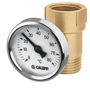 """União porta-termômetro 657400 com termômetro analógico D40mm, escala 0 a 80°C, MF 1/2"""""""