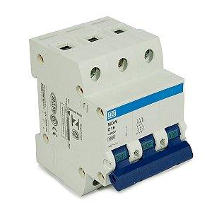 Mini Disjuntor Tripolar MDW-C16-3 16A curva C 5KA Weg