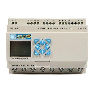 Controlador Logico Programavel CLW-02 20VR-D 3RD Clic02 24Vcc Weg
