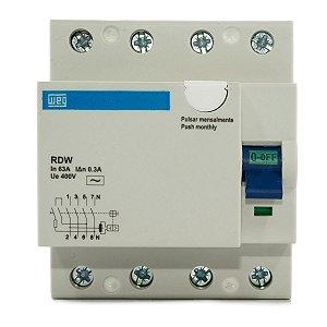 Interruptor Diferencial Residual DR 63A 300mA 4 Polos RDW300-63-4 Weg