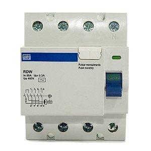 Interruptor Diferencial Residual DR 80A 4 Polos RDW300-80-4 Weg