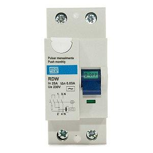 Interruptor Diferencial Residual DR 25A 2 Polos RDW30-25-2 Weg