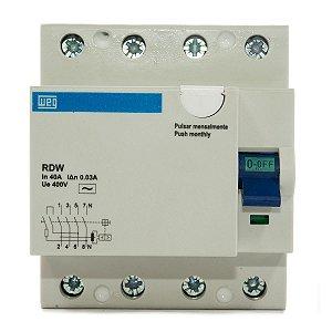 Interruptor Diferencial Residual DR 40A 30mA 4P RDW30-40-4 Weg