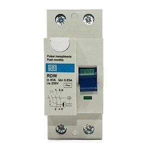 Interruptor Diferencial Residual DR 63A 30mA 2 Polos RDW30-63-2  Weg
