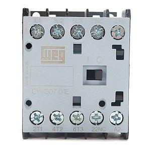 Mini Contator Weg Tripolar CWC07 7A 24Vdc 1NF Azul