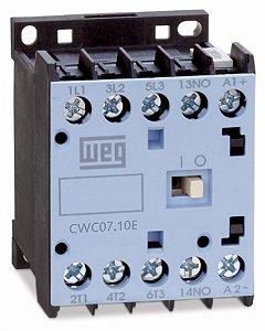 Mini Contator Tripolar Weg CWC07-10-30C03 7A 24VDC 1NA AZ