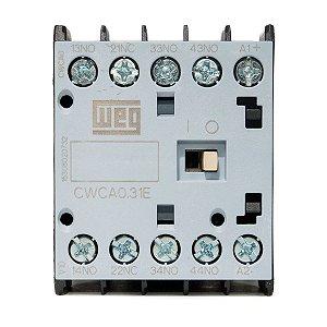 Mini Contator tripolar Weg CWCA0-31-00V26 3NA+1NF 220VCA