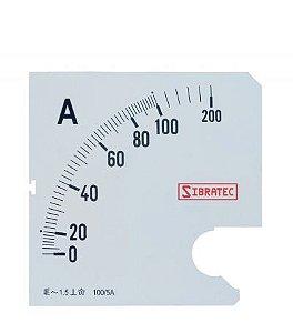 Escala para Amperímetro 72mm 0-100A