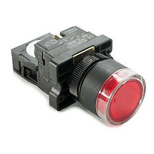 Botão Iluminado Plástico XB2-EW3461 Vermelho 24V 1NF