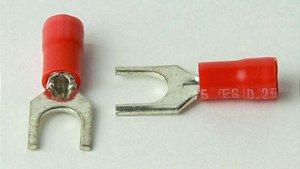 Terminal SVS 1.25-4 Forquilha Vermelho para Cabo 1,5mm² - (100Pçs)