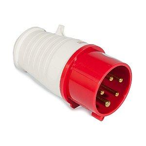 Tomada industrial macho 3P + T + N IP44 380VAC 16A 6H Vermelha